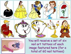60 x Finger / Toe Nail Art Decals Beauty And The Beast Disney Princess Chip Mrs Pots Candle Stick Clock & Free Gift on Etsy, $7.29 CAD