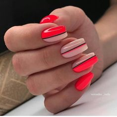 Simple and elegant line acrylic nails design art ideas love it Hot Nails, Swag Nails, Pink Nails, Square Nail Designs, Line Nail Designs, Lines On Nails, Nagellack Trends, Striped Nails, Best Acrylic Nails