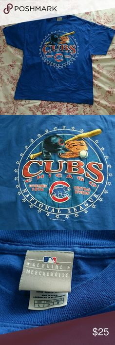 """Genuine Chicago Cubs T-shirt World Series winners Chicago Cubs Genuine Merchandise men's t-shirt. 100% preshrunk cotton. 27"""" long. 22"""" across pit to pit laying flat. In excellent condition - no stains, no tears, the print complete. Men's large Shirts Tees - Short Sleeve"""