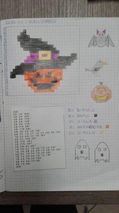 Se ti interessa il codice clicca qui CODING HALLOWEEN RAGNO CHIAVE zucca con cappello Art Halloween, School Border, Graph Paper Art, Minecraft Pixel Art, My Teacher, Primary School, Crochet Patterns, Arts And Crafts, Coding