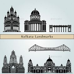 Buy Kolkata Landmarks and Monuments by paulrommer on GraphicRiver. Kolkata landmarks and monuments isolated on blue background in editable vector file. AI 10 Illustrator vector fully e. Mandala Drawing, Mandala Art, Temple Drawing, Bengali Art, Bengali New Year, City Sketch, Pattern Sketch, City Vector, Perspective Art