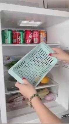 Kitchen Storage Refrigerator Partition Storage Rack – diy home crafts Diy Kitchen Storage, Rv Storage, Home Decor Kitchen, Kitchen Design, Storage Basket, Shop Storage, Storage Ideas, Kitchen Items, Kitchen Utensils