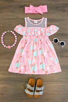 Pink Hot Air Balloon Off Shoulder Dress