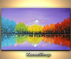 Colorful rainbow trees painting original contemporary by ZarasShop Tree Watercolor Painting, Rainbow Painting, Watercolor Landscape, Abstract Landscape, Landscape Paintings, Abstract Art, Office Artwork, Large Canvas Art, Guache