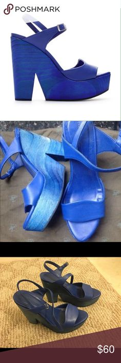 Vibrant Blue Wedges Statement blue wedges. Gorgeous!! They were worn only 2 times. There are minor scuffs on the platform, otherwise in great condition! The size is listed as European 39, but they run small and fit as 7.5 US. I can sell for less on Tradesy!! Zara Shoes Wedges