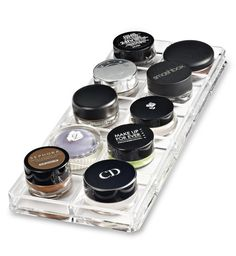 Acrylic Paint Pot / Cream Shadow Organizer by byAlegory Premium Beauty Organization -- Awesome products selected by Anna Churchill Clear Makeup Organizer, Makeup Drawer Organization, Acrylic Organizer, Eyeshadow Makeup, Makeup Cosmetics, Eyeliner, Makeup Brushes, Cosmetic Display, Cosmetic Storage