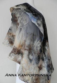 nuno felted silk scarf, shawl DERSU UZALA,handmade free shipping, silk, wool, 100% eco fashion, natural