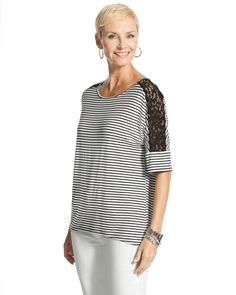 Chico's Lorrine Striped Lace Top #chicos