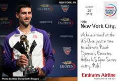 """Today's postcard reads: """"We have arrived at the US Open, just in time to celebrate Novak Djokovic's Emirates Airline US Open Series victory. Nole!"""""""