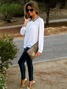Sequin collar, white blouse, skinnies and metallic pumps & clutch