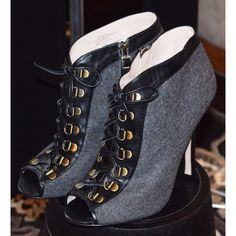 HOST PICKCity Chic Party Gray wool and black leather string up booties Shoes Ankle Boots & Booties