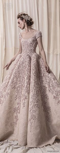 krikor jabotian spring 2018 bridal cap sleeves scoop neckline heavily embeliished blush color glamorous princess ball gown a line wedding dress open scoop back royal train (08) lv -- Krikor Jabotian Spring 2018 Wedding Dresses