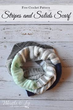 1f5eb4b6c20 FREE Crochet Pattern  Stripes and Solids Crochet Scarf