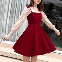 Cute Korean Fashion, Korean Fashion Summer Casual, Korean Fashion Dress, Korean Street Fashion, Korean Outfits, Fashion Dresses, Ulzzang Fashion Summer, Cute Korean Girl, Red Dress Casual