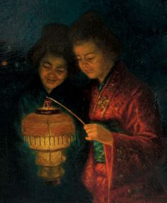 Jean Charles Pierre Houthuesen (Dutch, ?-1912) - Japanese Women with Lighted Lantern. 1911