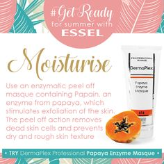 #getReadyForSummer with #esselProducts  #Moisturise.  Use an enzymatic peel off masque containing Papain, an enzyme from the papaya, which stimulates exfoliation of the skin. The peel off action removes dead skin cells and prevents dry and rough skin texture. Try DermaPlex Professional Papaya Enzyme Masque. Exfoliating Peel, How To Remove, How To Get, Peel Off Mask, Facial Care, Dead Skin, Action, Skin Care, Texture
