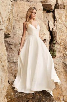 Dreamy Crêpe Wedding Dress - Style #2327 | Mikaella Bridal Crepe Wedding Dress, Bridal Wedding Dresses, Wedding Dress Styles, Designer Wedding Dresses, Mikaella Bridal, Bride Gowns, Wedding Dress Shopping, Bella, Marie