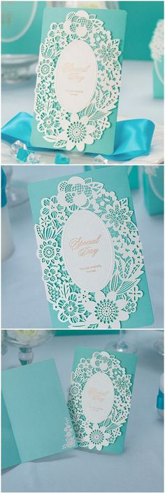 classic elegant Tiffany blue laser cut lace wedding invitations - Beach Wedding
