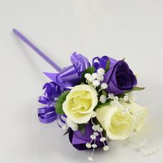 Purple and Ivory Rose Flower Girl Wand
