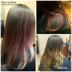 Elise transformed her client's hair from a dull, outgrown ombre to a lovely lavender ombre!  Paul Hyland Salon and Day Spa