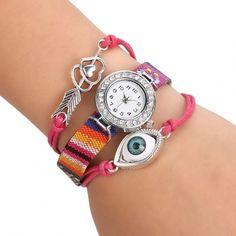 Women's Handmade Friendship Bracelet Watch Rhinestone Round Dial Quartz Wristwatch