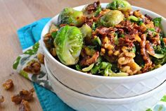 Brown Sugar Bacon Brussels Sprouts with Candied Walnuts - love lots of side dishes #HomemadeHolidays