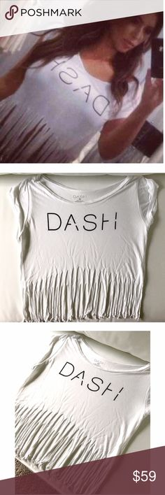 DASH Fringe Top This DASH top from the Kardashians has only been worn once! Perfect condition. The fringe is long enough that it's barely a crop top. Size medium could fit a range of sizes from S-L/XL (depends on bust). Kardashian Kollection Tops Crop Tops