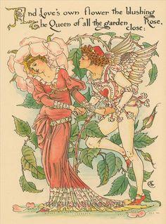Walter Crane – Illustration from Flora's Feast: A Masque of Flowers 1889 Walter Crane, Art Nouveau, All Nature, Rose Art, Children's Book Illustration, Book Illustrations, Vintage Images, Vintage Postcards, Vintage Artwork