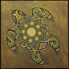   small stylized turtle painting - Green