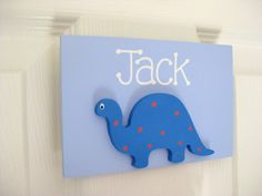 Personalised dinosaur bedroom door plaque.  £11.00