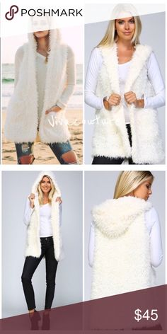 WHITE FAUX SHERPA HOODED VEST DELICIOUS💗 FABULOUS PIECE💕NWOT from Vendor. Soft roomy and crisp looking... Great for indoor Piece or outdoor for Spring, Summer and Fall. Will FIT easily up to a 36D Brest. Perfect luxurious addition with Jeans or Leggings. *️⃣PRIVE FIRM unless BUNDLED. Sorry No Trades. Take advantage of 15% Bundle on 3 items. Jackets & Coats Vests