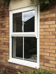 Upvc rated casement window with integral mock sash horns. Upvc Sash Windows, Grey Windows, Front Windows, Casement Windows, House Windows, Windows And Doors, Large Windows, Grey Window Frames, Terrace House Exterior
