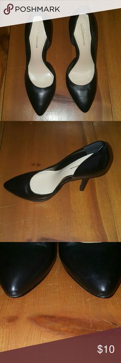 BCBGeneration black heels Black leather heels that are 7.5, in fair condition with a few scuff marks at the toe barely can be seen. The heels are in fair condition as well. They've only been worn twice. I've taken pics of the toe and heel. BCBGeneration Shoes Heels
