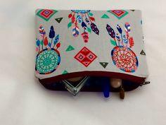 #etsy shop: Cosmetic Zipper Pouch Makeup Bag Pencil Pouch Dreamcatcher #bagsandpurses #blue #wedding #christmas #red #stockingstuffer #cosmetic #makeup #pencilpouch