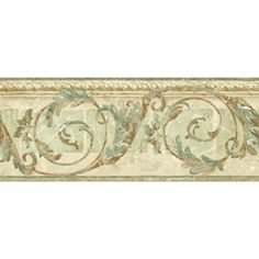 "Sunworthy�8-1/4"" Traditional Scroll Prepasted Wallpaper Border"