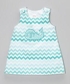 Look what I found on #zulily! Aqua Zigzag Whale Monogram Jumper - Infant, Toddler & Girls #zulilyfinds