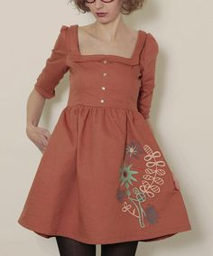 Take a look at this Brown Flora Alondra Dress by Titis Clothing on #zulily today!
