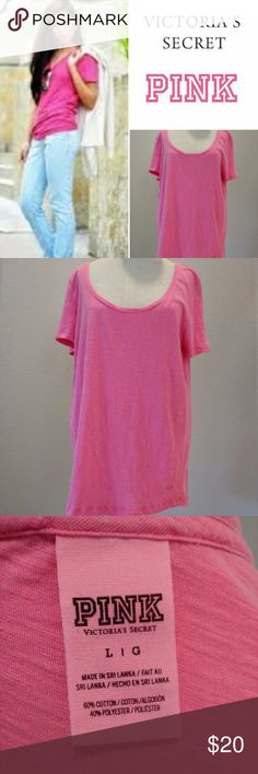 PINK Long Soft Campus U-Neck Oversized SS Tee sz L A go-to on game day or any day—this tunic-length tee is only by Victoria's Secret PINK. Super oversized fit, long hip length. Imported cotton.  PINK by Victoria's Secret.  Color is bright optic pink, almost neon. Excellent condition. (Unsure it's ever been worn before) PINK Tops Tees - Short Sleeve