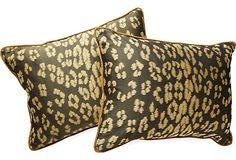 Silk Leopard Pillows, Pair on OneKingsLane.com