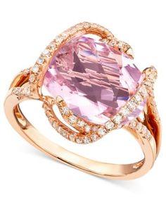 Gemma by EFFY Pink Amethyst (7-3/4 ct. t.w.) and Diamond (3/8 ct. t.w.) in 14k Rose Gold   macys.com
