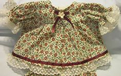"""Poinsettia Print Dress/Bloomers fits 16-18"""" Cabbage Patch/Berenguer Babies #Handmadeinmysmokefreehome"""