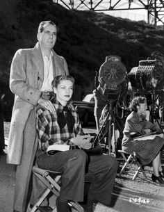 Humphrey Bogart and Lauren Bacall on the set of Dark Passage (1947)