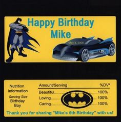 Personalized Batman Birthday Candy Bar Wrappers