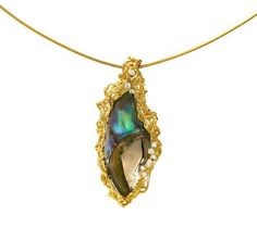 An abalone pearl and diamond pendant necklace, Andrew Grima, 1971