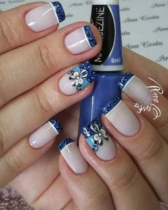 easy acrylic winter nails and color ideas 2019 page 25 Toenail Art Designs, Flower Nail Designs, Colorful Nail Designs, Nail Designs Spring, Great Nails, Fabulous Nails, Cute Nails, My Nails, Winter Nails