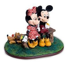 Mickey, Minnie, Pluto at a bench - our wedding cake topper... SO CUTE