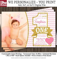 First Birthday Invitation - Pink and Gold 1st Birthday Invitations - Heart, Valentine's Day, Birthday