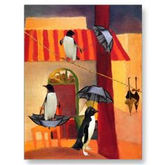 Penguin Cafe Greeting Card.  Surreal adaptation of Turkish Cafe by the German artist August Macke [1887-1914]