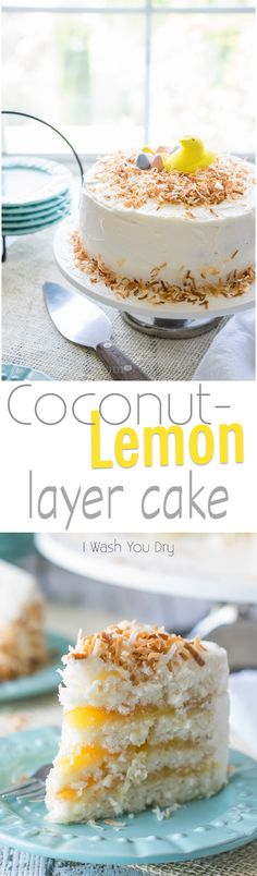 Coconut Lemon Layer Cake - the BEST creamy and moist cake! It's unique, and so pretty for birthdays and dessert! by DeeDeeBean Lemon Desserts, Lemon Recipes, Just Desserts, Delicious Desserts, Cake Recipes, Dessert Recipes, Yummy Food, Easter Desserts, Summer Recipes