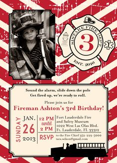 DIY Printable Vintage Fireman Birthday Invitation Kit - Invite AND Thank You Card included. $15.00, via Etsy.